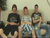 Three sexy stud gays relaxing and posing juicy bodies on sofa for the money.