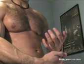 muscular stud shoots his load