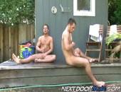 Naked to stroke identical dicks