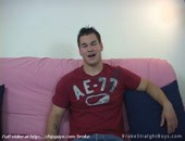 Amused straight guys poses and demonstrates bodies on big sofa. More video @ http:www.chipgays.combroke