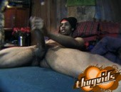 black dude stroking his long cock, get full black