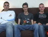 Three straight boys get hard on a couch for cash.