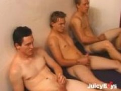 Three hot guys decided to get some R&R together! They sit down and stroke their hot cocks together! Lets see if they cum at the same time!
