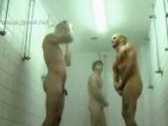 The pervy cameraman at SneakyPeek used his spycam to catch a group of hunky sportsmen fresh off from the playing field showering together.