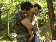 Two muscle beefy gay enjoying deep cock sucking in the garden. Hardcore bareback anal fucking with body cumshot in the end.
