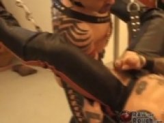 Tattooed and pierced muscle stud Bud and his piggy friend XOF stretch each others holes with enormous dildos. They want their asses ready for some deep fisting. Bud is the first to take a fist from Jason Davis, and he takes it all the way to th