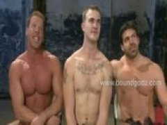 Vince and Derek are connected by the butterfly tit clamps and they endure the harse cattle prod and while enjoying the bodybuilders screams...