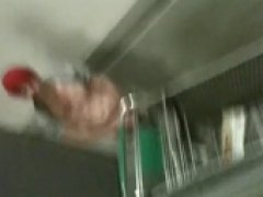Dared my friend Migs to jerk off in apartment stairwell,  got caugt in the act!