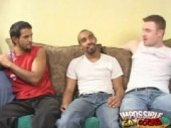 Trashy black Clay sucking two young hunks with his impossible cock