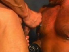 Hot manly rugged hunks in a hot orgy leather sex scene. Totally testosterone full gay action with lots of fucking and sucking of big hard dicks