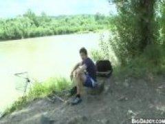 blowing fat jock dick outdoors