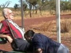 older man sucked by chubby guy outdoors