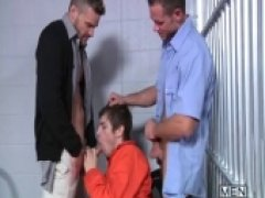 these hunks waste no tile shoving both their cocks in that inmate at the same time