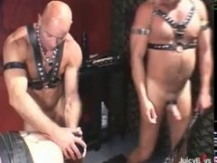 leather men gets down to business with a monster dildo and baseball bat