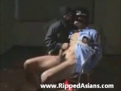 bound asian cop gets sucked off by a masked man