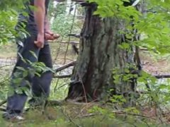 jerking off infront of a tree