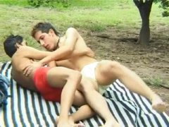 cute twinks have loving sex outdoors