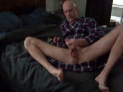 sexy silver dad strokes off with poppers