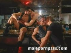 leather studs group fuck at the bar