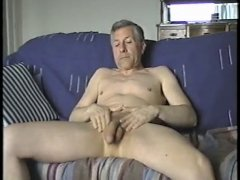 older male jerks off and cums