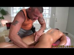 sexy silver daddy giving a jock a massage turns to rimming his little pink hole