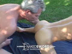 muscled blonde jock takes a big raw dick from a silver daddy