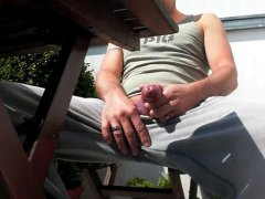 Amateur Guy JErking Off His Cock and Makes cumshot outdoor.