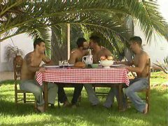 Guys Having an Outdoor Lunch Date.