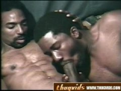 Horny Black Guy Giving His Friend a nice Cock Blowjob.