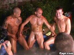 Hot Guys Having a nice Group Handjob session.
