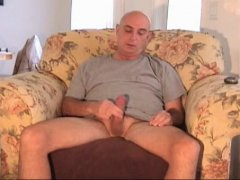 Horny Mature Guy Jerking Off His COck.