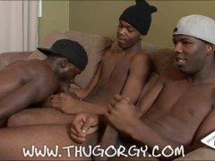 Horny Black Guys Having a nice Threesome Blowjob.