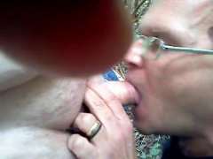 Hot Mature Guy Sucking His Friends Cock.