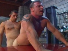 Horny Jocks Sucking and Fucking Hard in the Workshop.
