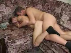 Horny Couple Sucking and Fucking on the Couch.