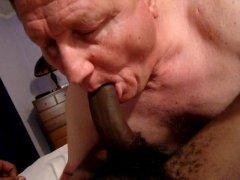Horny Mature Guy Sucking Big Black Cock.