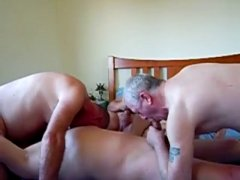 Three Mature Horny Guys Having a great Time.