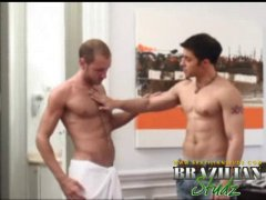 sexy guys with cum shooting all over him.