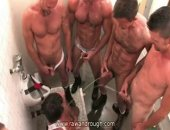 This pig was so thirsty one tap wasnt enough! These four hot guys all unload their piss on him!