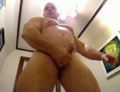 FlexBigMuscle enjoying his new apartment. Naked muscular bear gets horny for the camera!