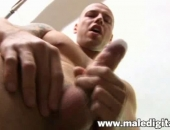 Smooth skin and muscular, this first time bareback recruit prepares for a good fucking by stroking his thick cock.