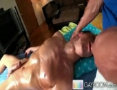 Brice called us over for some relief after working around the house all day. The massage went well until I got a little horny and went for it. Watch as this hunk massages this hot stud and shoves his cock into his horny wet mouth.