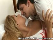Romantic couple of shemale and a guy make love so sweet. They use foreplay and change it into hardcore
