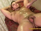 ClubAmateurUSA Bi Hunk Marco relaxes and ready for a full frontal body massage, from his shoulders, to his hairy chest, down to his hard cock......