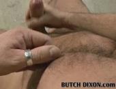 Hairy bear Bruno jacks his big-nobbed cock.