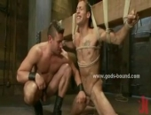 Gay man with hands fixed with ropes on a planket gets ******* and fucked in wild bondage sex with fetish expert that loves spanking his ass and...