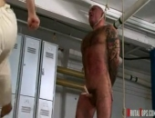 Master Nick & Master Derek are practicing some Muay Thai moves using a lockeroom bitch as their human punch bag. Coarse ropes suspend the sub by...