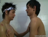 Two horny Asian Thai boys having a shower together. One of them give a helping hand while shaving.   Then he goes oral on his cock ;)