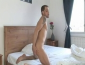 After removing his towel, 25 year old Alex Stevensen kneels on the bed and takes his dick in hand. While stroking Alex begins slapping his ass,...