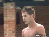 Hunk Beefy Guy Get Horny When He Saw His Friend Naked On The Swimming Pool